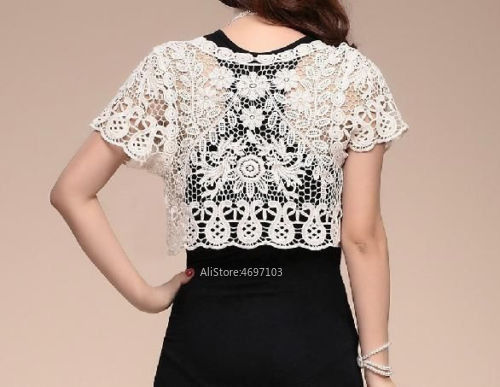Image 4 - White Black Apricot Women Short Sleeve Shrug Bolero Lace Wedding Bridal Summer Jacket Elegant Cape-in Wedding Jackets / Wrap from Weddings & Events
