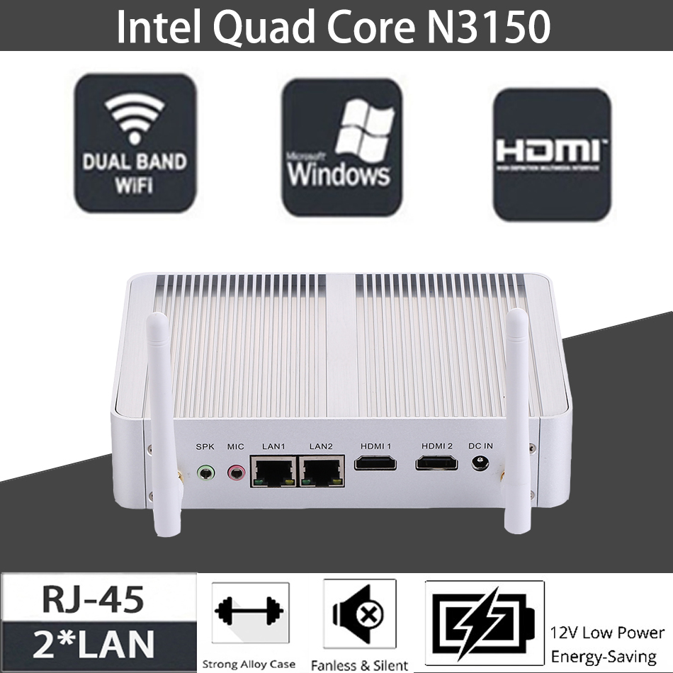 Fanless Mini PC,Intel Celeron N3150,Windows 10/Ubuntu,Silver,[HUNSN BM04L],(WiFi/2HD/4USB3.0/2USB2.0/2LAN)