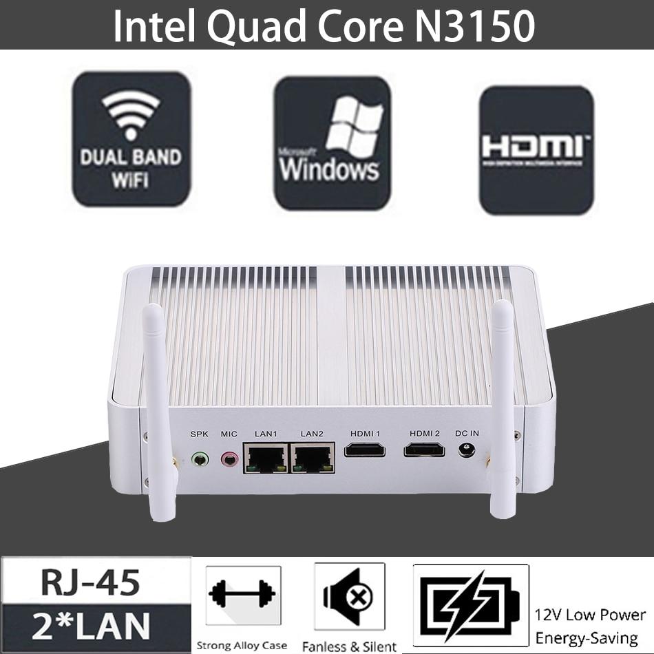 Fanless Mini PC,Intel Celeron N3150,Windows 10/Ubuntu,Silver,[HUNSN BM04L],(WiFi/2HD/4USB3.0/2USB2.0/2LAN)