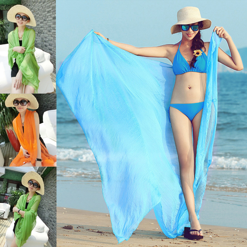 Sale Women Shawl Wraps Scarf Candy Colors Crinkle Cotton Wrap Soft Stole Blend Long Summer Sunscreen Sunbathing Beach