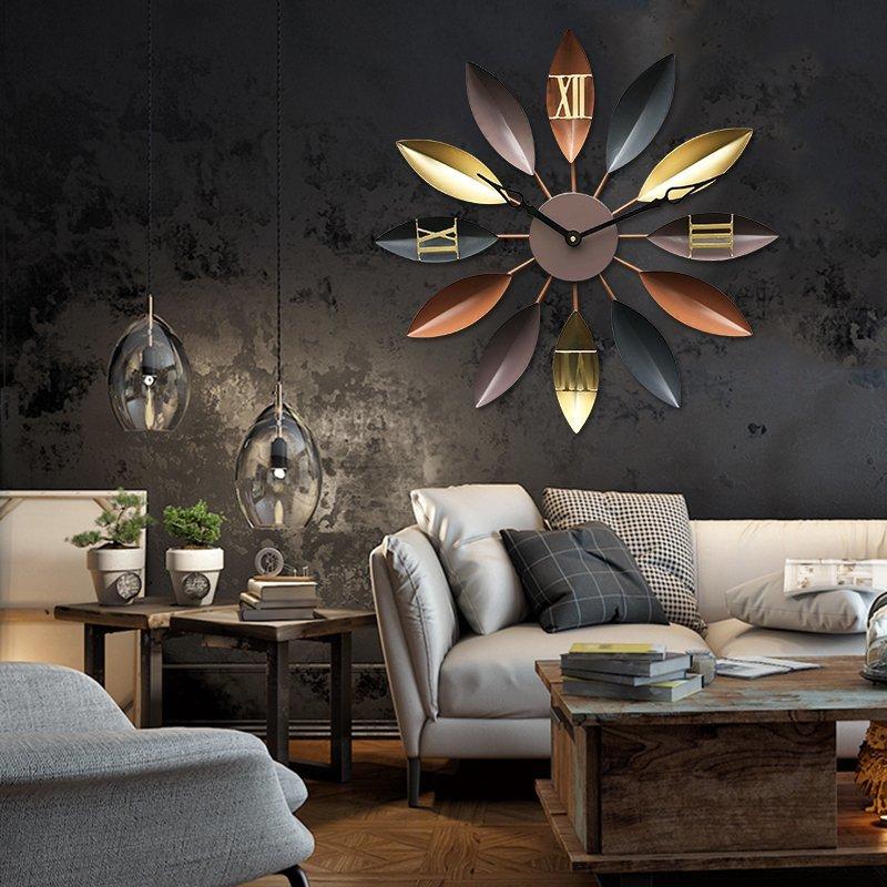 غرفة المعيشة المتوسط ساعة حائط المطاوع الحديد بسيطة كتم الزخرفية الجدول الحديثة الإبداعية ساعة الأزياء الساعات الأوروبية-في ساعات الحائط من المنزل والحديقة على  مجموعة 1
