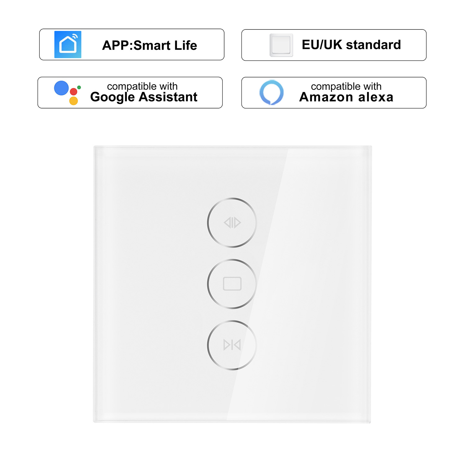 100% Quality Wi-fi Curtain Switch Uk/eu Glass Panel Smart Mobile Control Via Touch Smart Life App Voice Control By Alexa Echo For Smart Home