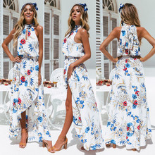 Floral Print Maxi Party Dress Women Summer Halter Neck Sexy Cross Back Wrap High Slit Long Dresses Elegant Holiday Beach Dress plunge crisscross open back high slit maxi dress