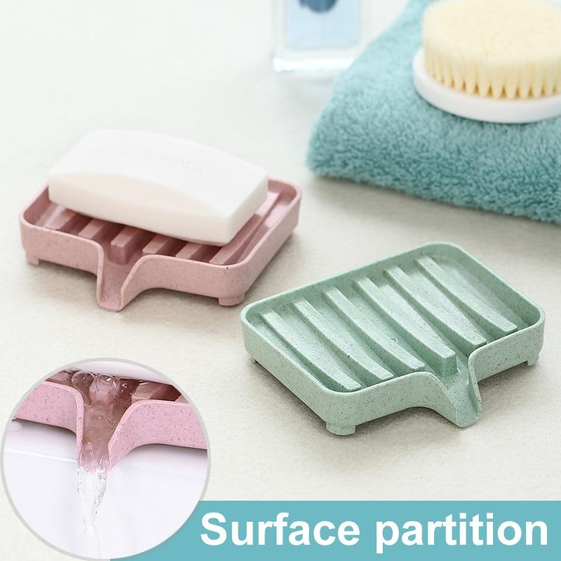 Sponge Holder PP Wheat Straw Storage Rack Drain Soap Box Tray Soapbox 1 Pcs Shower Soap Tray Tool Soap Dish Plate Holder