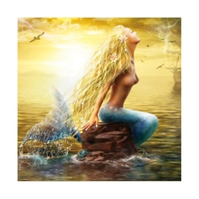 Diamond Painting Round Special Shape Embroidery Full Gear Picture Of Rhinestones Mermaid Sticker