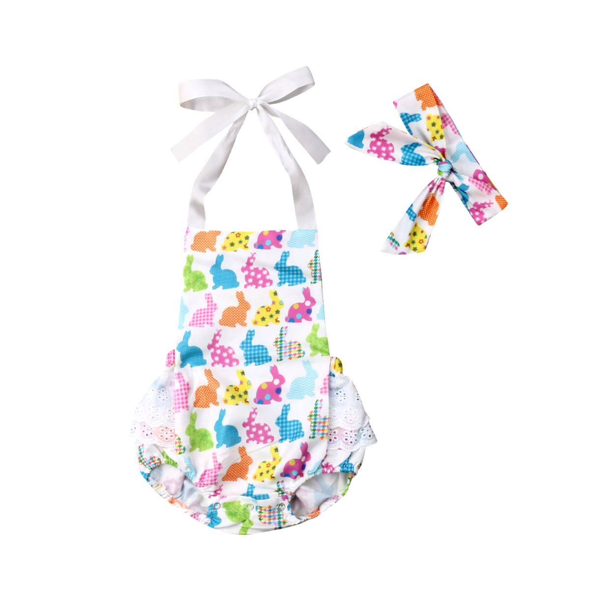 e0292def8c7 My 1st Easter Newborn Baby Girls Romper Lace Ruffles Baby Girls Jumpsuit  Sunsuit+Headband Outfits