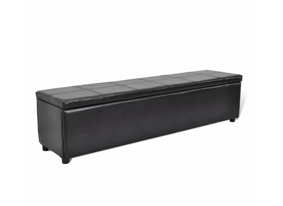Vidaxl Multifunctional Black Padded Upholstered Bench With Storage Box PVC Bench Storage Cabinet Coffee Chair Bar Use