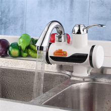 Warmtoo 220V AU Plug  Tankless LED Digital Electric Kitchen Heater Faucet ABS Plastics Deck Mounted WhiteInstant Hot Water Tap