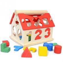 Блоки деревянный дом Дети Интеллектуальные развивающие строительные детские развивающие игрушки