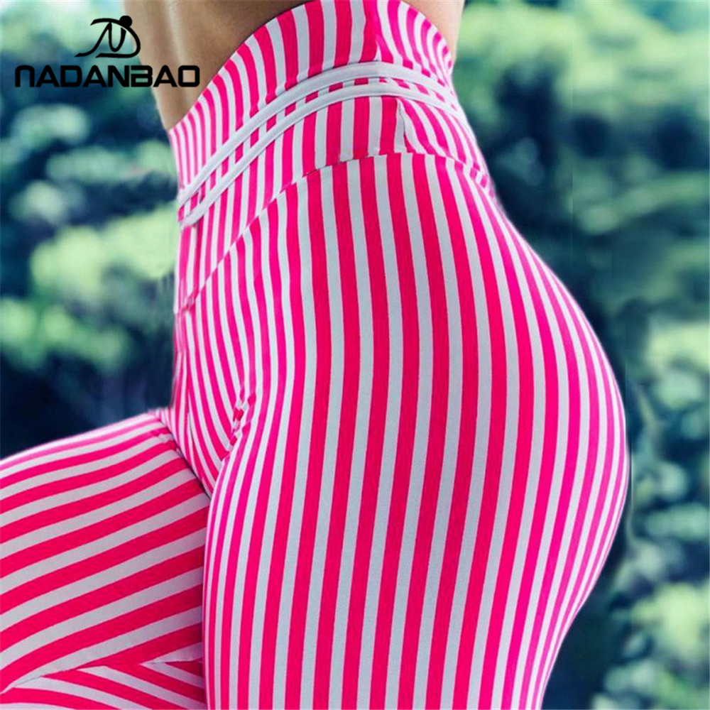 NADANBAO Sexy Push Up Stripe Sporting Women Legging Pink Fitness Legging 3D Print Workout Legins For Woman Plus Size