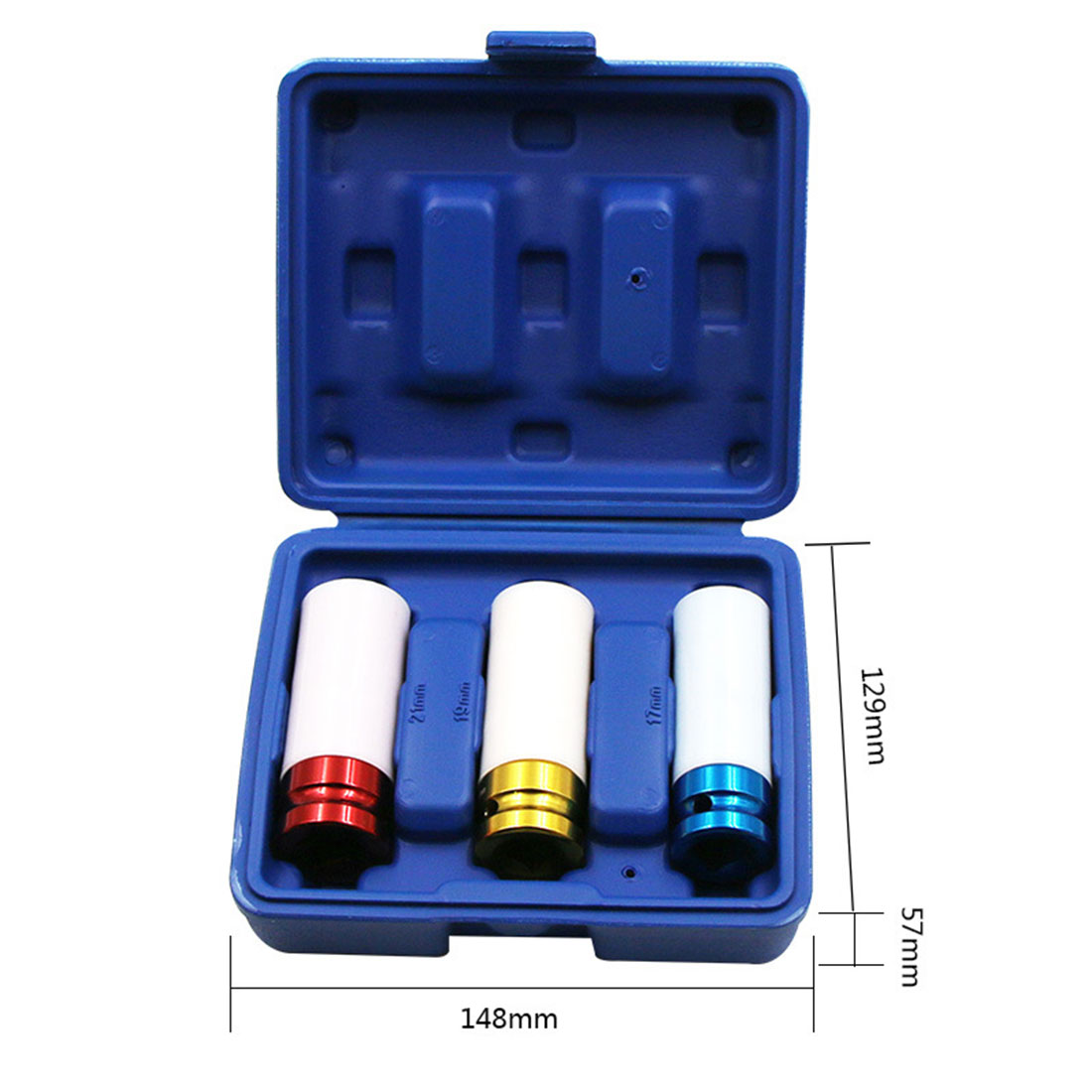 Deep Nut Wall Tire Car Sleeves 3pcs Blue Red Alloy Yellow Protection 19 21mm Set Sleeves Wheel Impact Socket 17