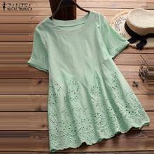 ZANZEA 2019 Summer Women Clothing O Neck Short Sleeve Solid Blouse Loose Top Casual Ruffles Cotton Linen Shirt Blusas Plus Size