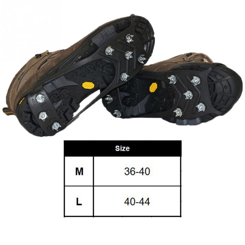 1 Pair Outdoor Ice Floes Gripper 8 Nails Snow Crampons Strap Climbing Cleats Spikes Non Slip Boots Silicone Ice Stud Shoes Grip