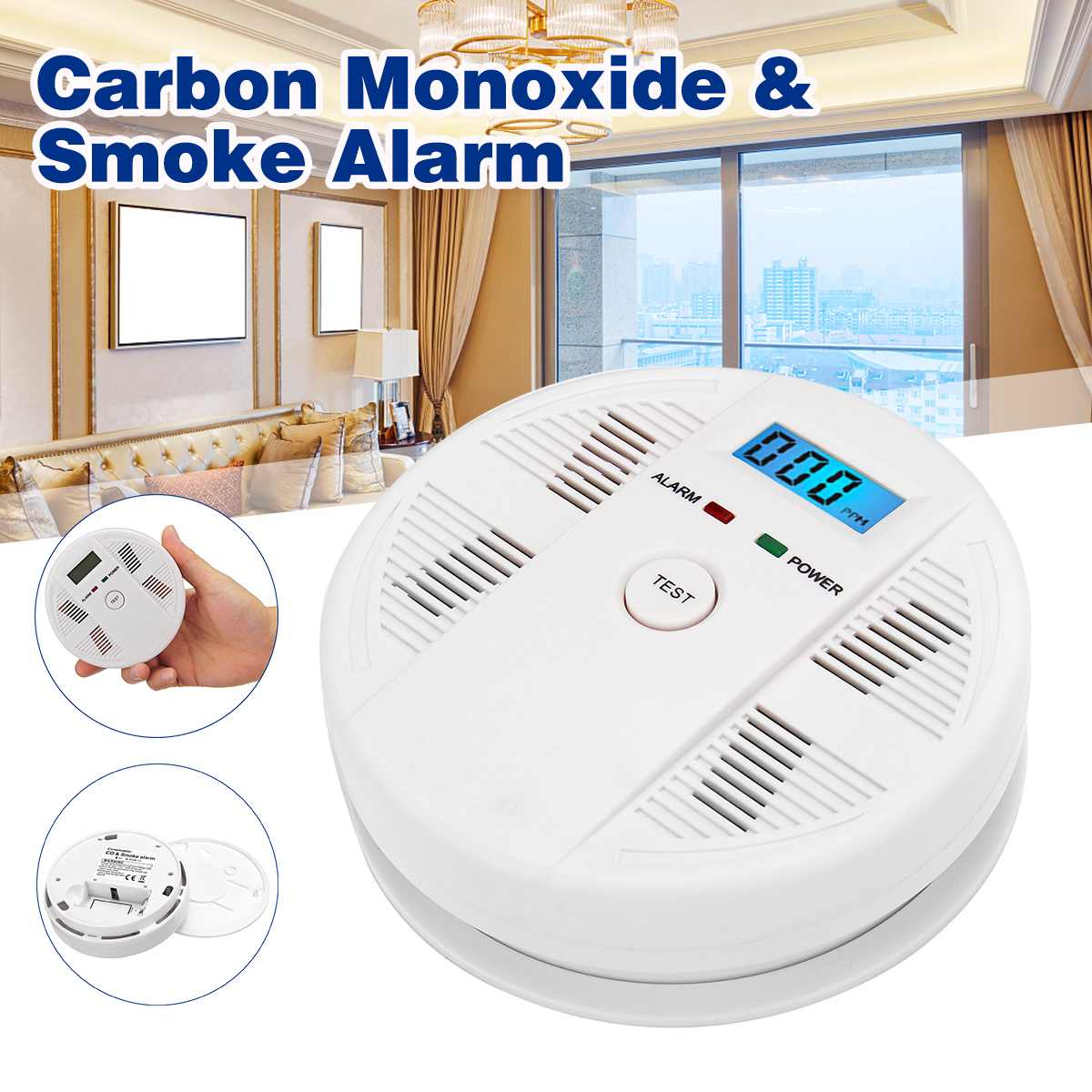 NEW 2 In 1 LCD Display Carbon Monoxide & Smoke Combo Detector Battery Operated CO Alarm With LED Light Flashing Sound Warning