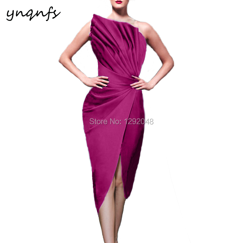 YNQNFS M154 Satin Pleats High Slit Sexy Robe Cocktail Fuchsia Tea Length Mother Of The Bride Formal Dresses Party Gown 2019