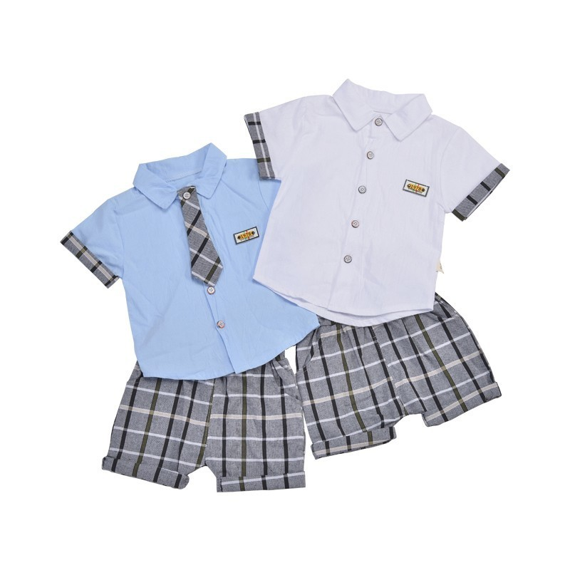 2019 Kids Fashion Clothing Children Boys Cotton Clothes Baby Plaid Tie Short Sleeve Shirt 2pcs/sets Toddler Gentleman Tracksuits