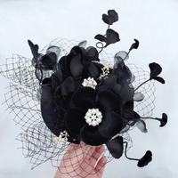 Black Bride Wedding Hat Flannelette Flower Banquet Wedding Hair Decoration Bonnet Pearl Vintage Bridal Accessories Mingli Tengda