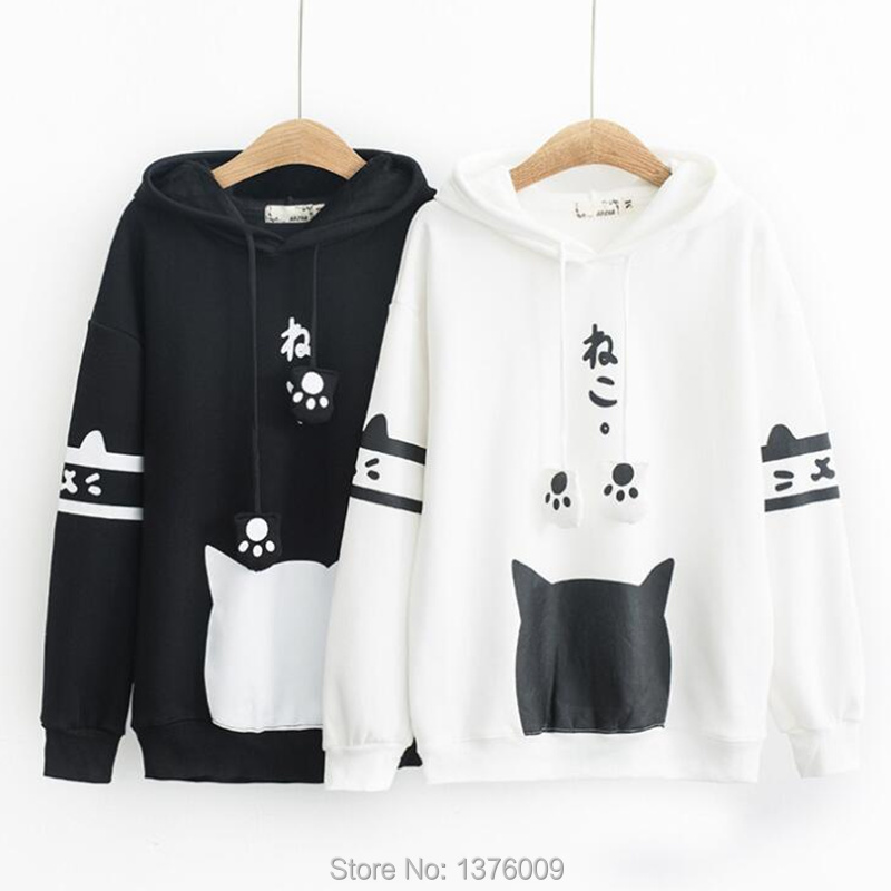 Neko Cat Kawaii Hoodie Lolita Winter THICK Cute Cat With Ear Hoody Pullover Student Casual Harajuku Hoodies Lovely Paws Tops