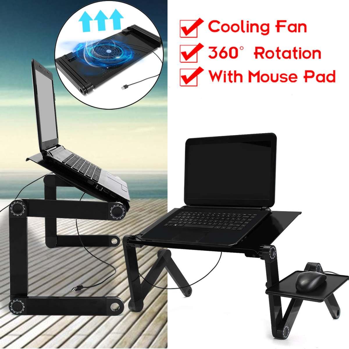 Multi-fonction Lapdesk nouveau bureau d'ordinateur portable Table support lit plateau ordinateur portable support en Aluminium avec tapis de souris refroidisseur USB