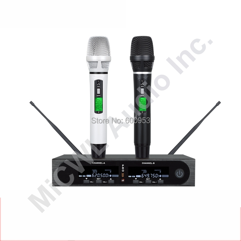 MiCWL Pro SKM9000 2x100 Channel White Black Wireless Microphone System
