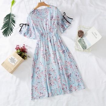 Vestido floral de gasa, primavera y verano.