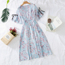 7 colors 2019 new women's chiffon dress print V-neck dress spring and summer ruffled short-sleeved bow dress large size S-3XL