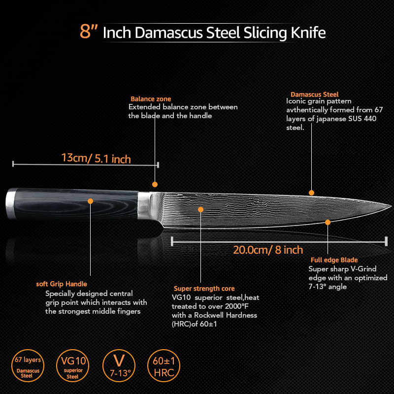 Damascus Knives 8 inch Carving Knife Japanese Damascus VG10 Stainless Steel Knives Kitchen Knife Ultra Sharp Micarta Handle