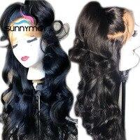 Sunnymay предварительно сорвал 250% плотность полный шнурок человеческих волос парики с ребенка волосы бразильских Реми парик Glueless парики с волн