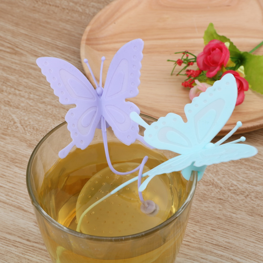 Cute Butterfly Tea Bags Strainers Filter Tea Infuser Silicone Teabags Tea Tools