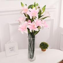 PU simulation flower lily three or two lilies silk  false flowers landing perfume bouquet wedding decoration