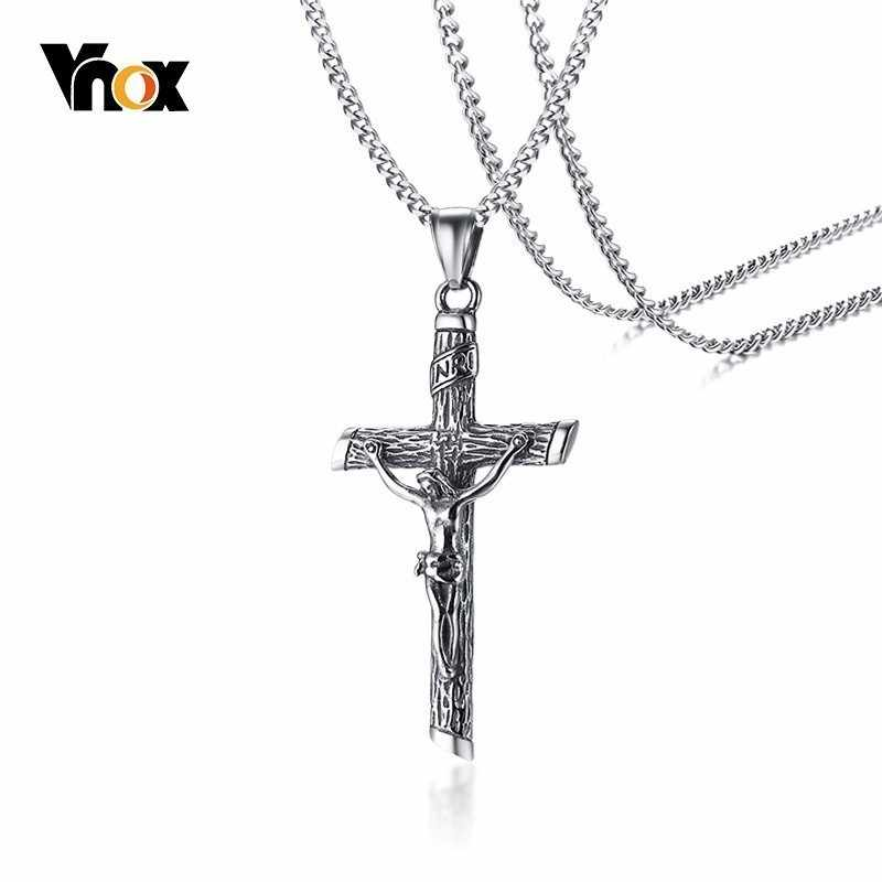 Vnox Mens INRI Necklace Vintage Stainless Steel Cross Pendants Male Collar Free Chain 24""