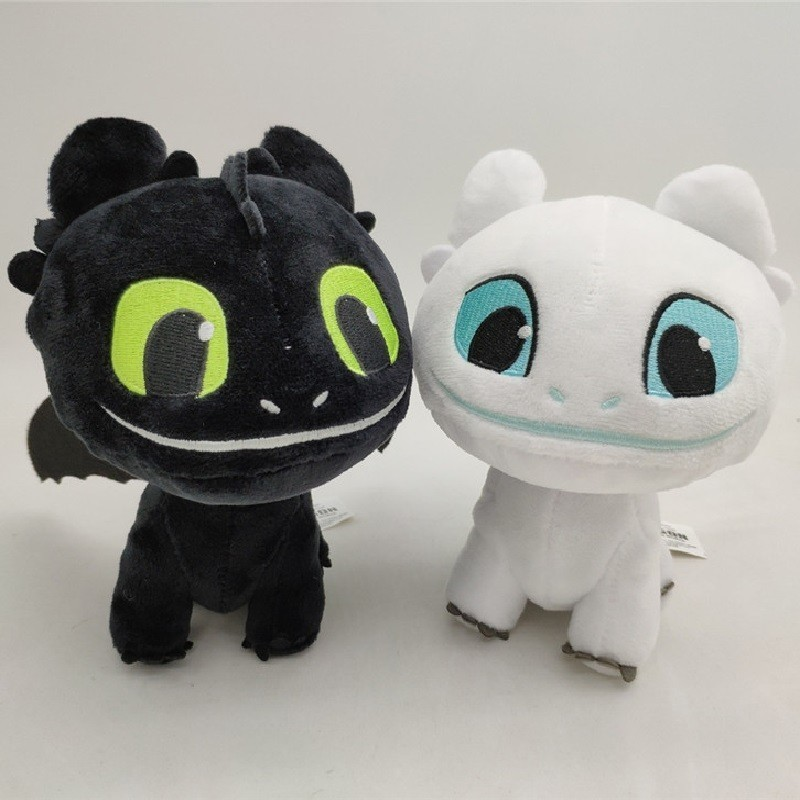 Hot How To Train Your Dragon 3 Light Fury Night Fury Toothless Plush Toys Soft White Black Dragon Stuffed Animals Doll Kids Toys image