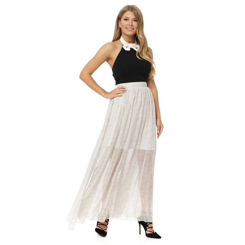 Skirt A-shaped silhouette, floor length, is made from lightweight chiffon, with lining, with slits at sides. a line printed knee length skirt