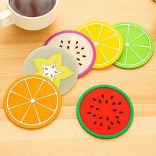 Горячая Распродажа чашки coaster столовых фрукты силиконовый
