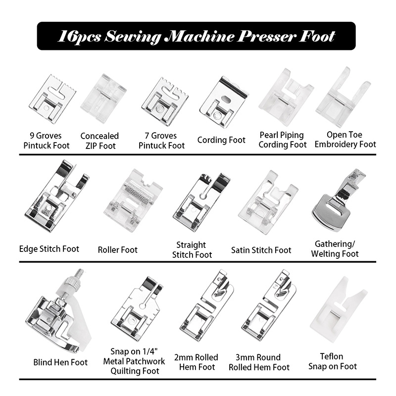 16pcs Sewing Machine Presser Foot Feet Kit Set With Box Brother Singer Janom Sewing Machines Foot Tools Accessory Sewing Tool 4