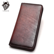 цена на Handmade Leather Wallet Ladies Leather Clutches Long Women Wallets Genuine Card Holder Cell Phone Pocket Purse