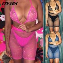 1265db5be6 2019 nueva Sexy mujeres de diamantes de imitación conjunto de Bikini de malla  Halter Bra +