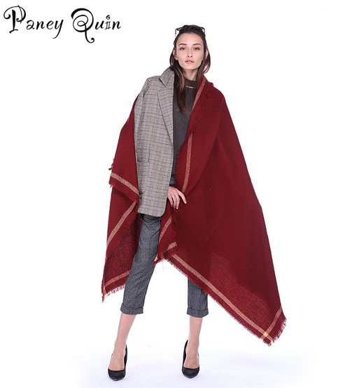 Fashion oversize cashmere   scarves     Wraps   women solid color   scarf   retro national air conditioning   scarf   lady tassel long towels