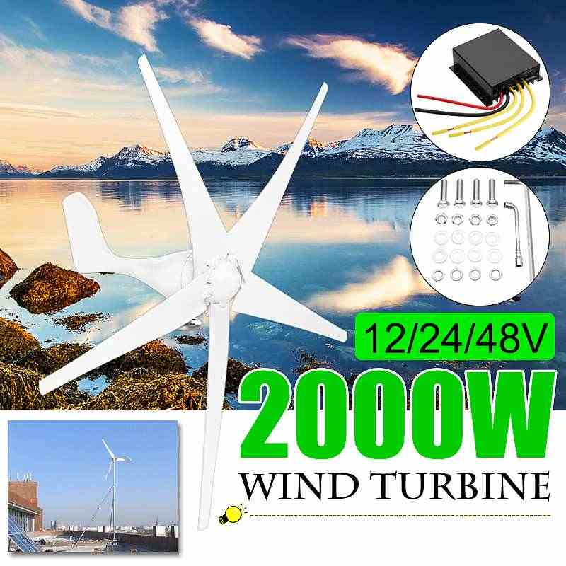 2000W 12/24/48 Volt 3/5 Blade+Controller Wind Turbines Horizontal Home Wind Generator Power Windmill Energy Turbines Charge