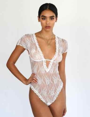 74b6650ae403 ... 2019 Women Sexy Robe Lingerie Lace Bodysuit Night Dress Ladies Summer  V-Neck Babydoll Underwear ...