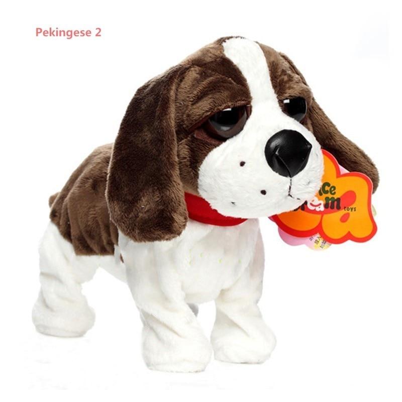 28 cm Control de sonido perro juguetes cachorro de perro con Control de voz inteligente del Animal doméstico puede caminar y corteza de Animal juguetes de peluche