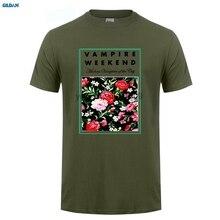 GILDAN  Print T Shirt Summer Style Crew Neck Men Vampire Weekend Floral Broadcloth Short Sleeve