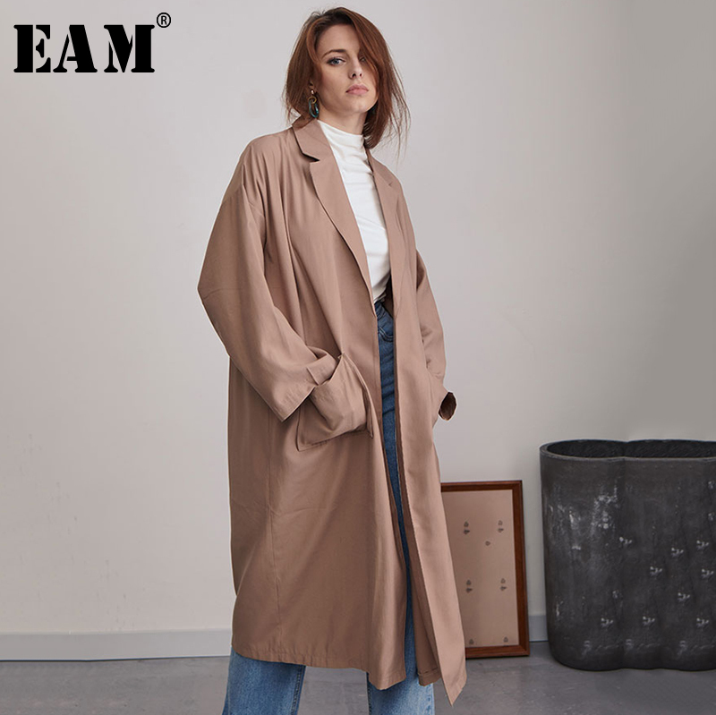 [EAM] 2019 New Spring Summer Lapel Long Sleeve Brief Pocket Split Joint Loose Big Size Windbreaker Women   Trench   Fashion JQ903