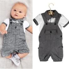 hot deal buy 2019 baby boys clothing sets baby boys lapel cotton tops t-shirt+suspenders pants 2pcs outfits set costume boys clothes set