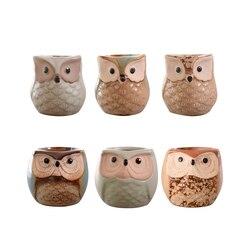 Confezione da 6 Mini Gufo di Ceramica Vasi di Fiori di Ceramica di Figura Del Gufo Piccolo Bonsai Decor Vasi di Fiori Della Decorazione Della Casa per Piante Carnose