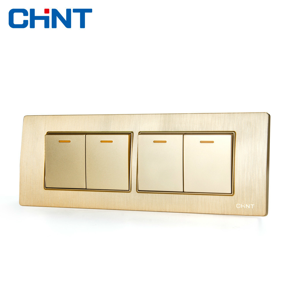 CHINT Electric Wall Sconce Switch 118 Type Embedded Steel Frame Four Lian Position Gang Two Way