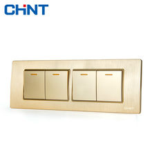 CHINT Electric Wall Sconce Switch 118 Type Embedded Steel Frame Four Lian Four Position Four Gang Two Way Switch(China)