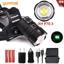 YUNMAI Xhp70.3/50/V6 Led 30w Zoom Headlamp 8000lm Best Brightest Powerful Head Lamp Flashlight Lantern For Running