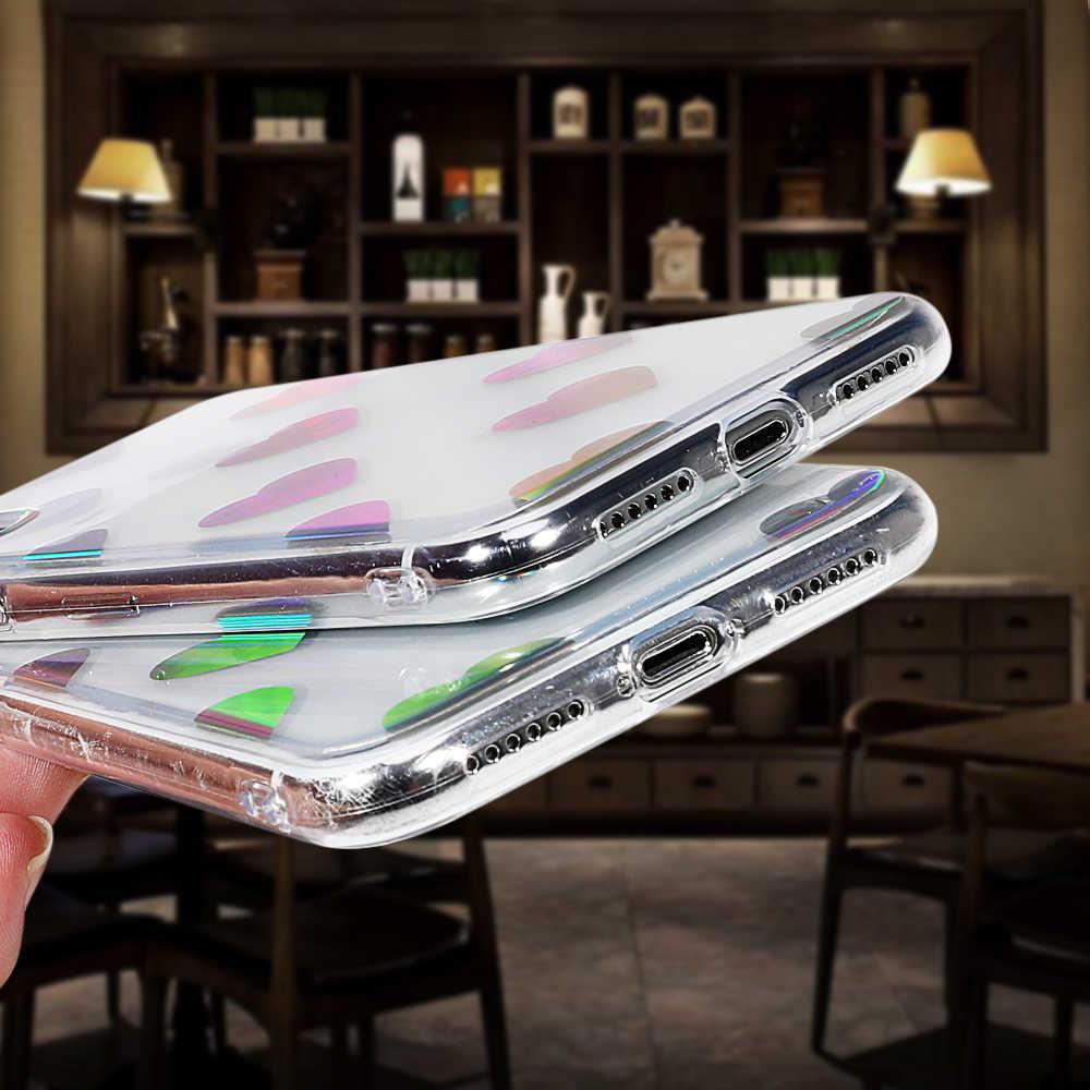 LOVECOM голографический лазер «любящее сердце» Прозрачный чехол для iPhone X XS XR XS Max 6 7 8 Plus Мягкий, из ТПУ, защитный чехол Coque
