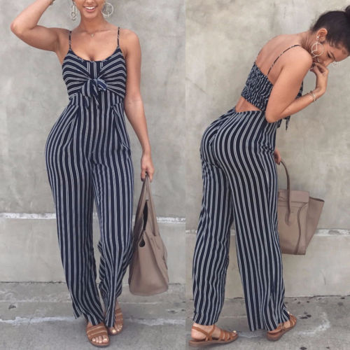 Womens Ladies Casual Striped   Jumpsuit   Sleeveless Strappy Bowknot Summer Romper Chiffon Bodycon Long Trousers Playsuit Female